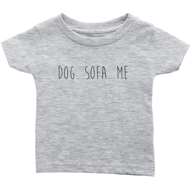 Dog. Sofa. Me Baby Tee-Heather Grey-Woofingtons