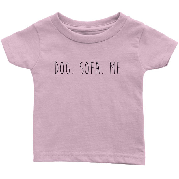 Dog. Sofa. Me Baby Tee-Light Pink-Woofingtons