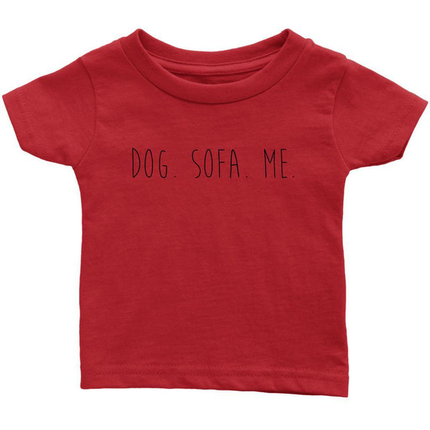 Dog. Sofa. Me Baby Tee-Red-Woofingtons