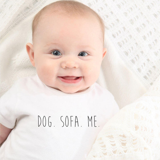 Dog. Sofa. Me Baby Tee White Woofingtons