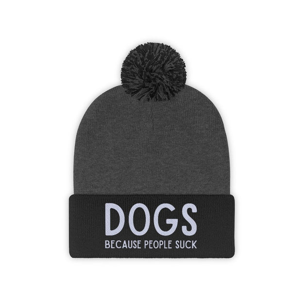Dogs Because People Suck Pom Pom Beanie-Apparel-Black/Graphite Heather-Woofingtons