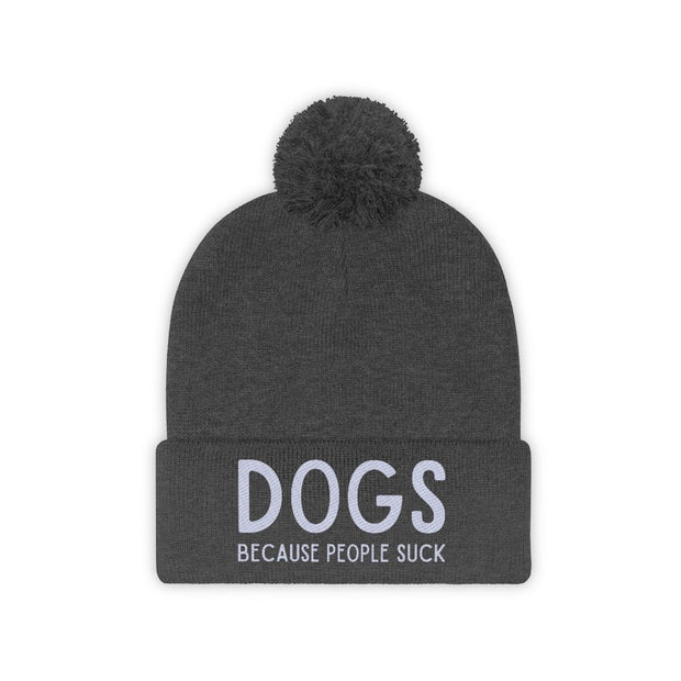 Dogs Because People Suck Pom Pom Beanie-Apparel-Graphite Heather-Woofingtons