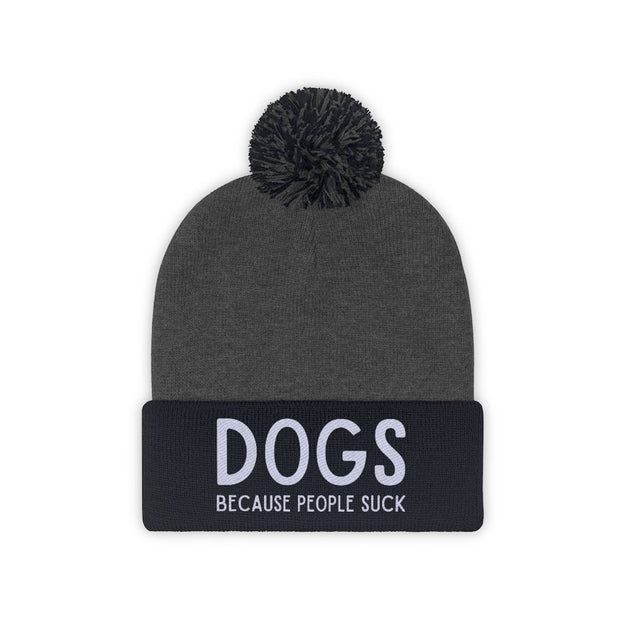 Dogs Because People Suck Pom Pom Beanie-Apparel-Navy/Graphite Heather-Woofingtons