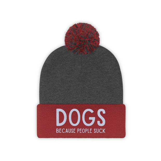Dogs Because People Suck Pom Pom Beanie-Apparel-Red/Graphite Heather-Woofingtons