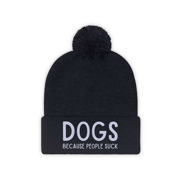 Dogs Because People Suck Pom Pom Beanie-Apparel-True Navy-Woofingtons