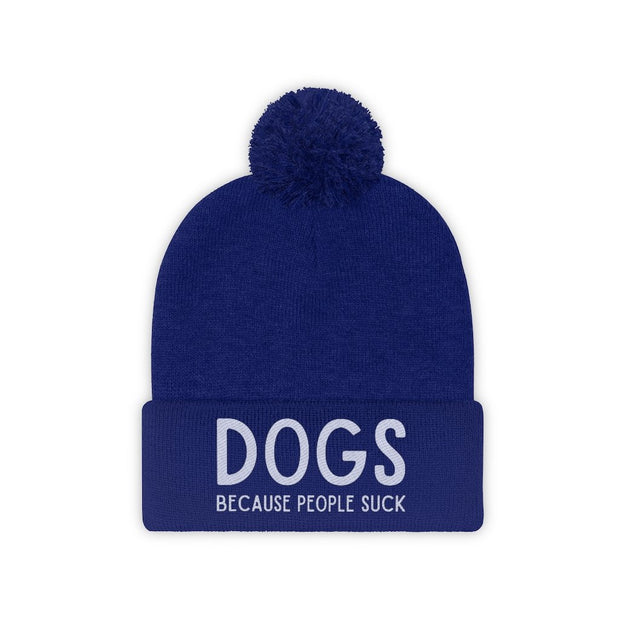 Dogs Because People Suck Pom Pom Beanie-Apparel-True Royal-Woofingtons