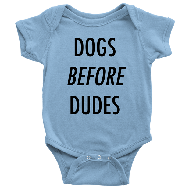 Dogs Before Dudes Baby Onesie-Light Blue-Woofingtons