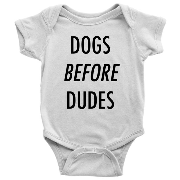 Dogs Before Dudes Baby Onesie-White-Woofingtons