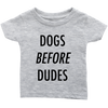Dogs Before Dudes Baby Tees-Heather Grey-Woofingtons