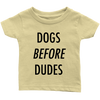 Dogs Before Dudes Baby Tees-Lemon-Woofingtons