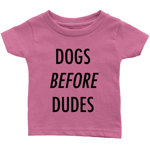 Dogs Before Dudes Baby Tees-Pink-Woofingtons