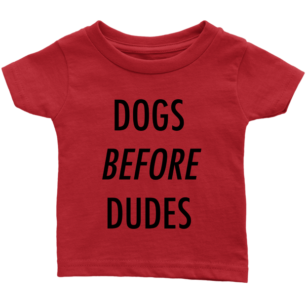 Dogs Before Dudes Baby Tees-Red-Woofingtons