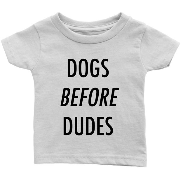 Dogs Before Dudes Baby Tees-White-Woofingtons
