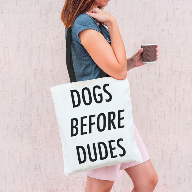 Dogs Before Dudes Tote Bag-dog-lover-gift