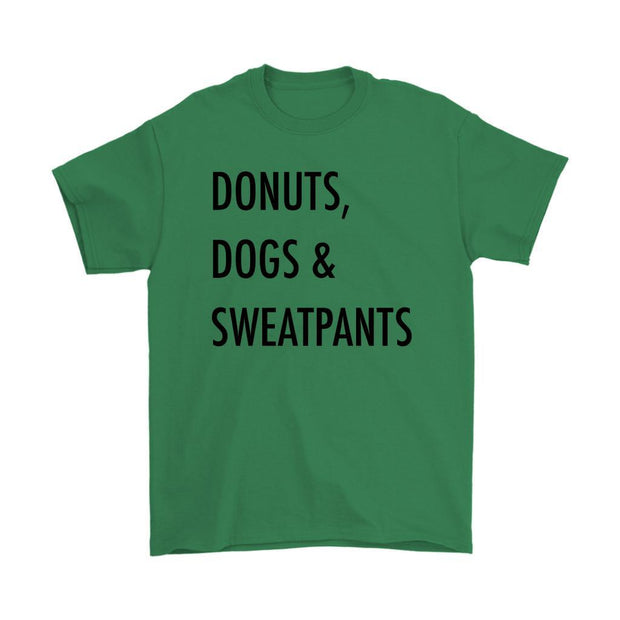 Dogs, Donuts & Sweatpants Mens Tee-Irish Green-Woofingtons