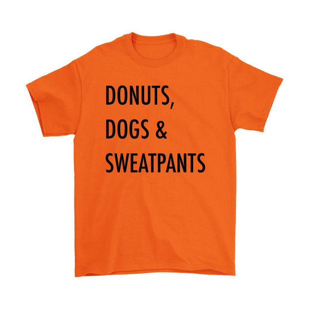 Dogs, Donuts & Sweatpants Mens Tee-Orange-Woofingtons