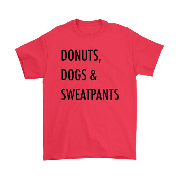 Dogs, Donuts & Sweatpants Mens Tee-Red-Woofingtons