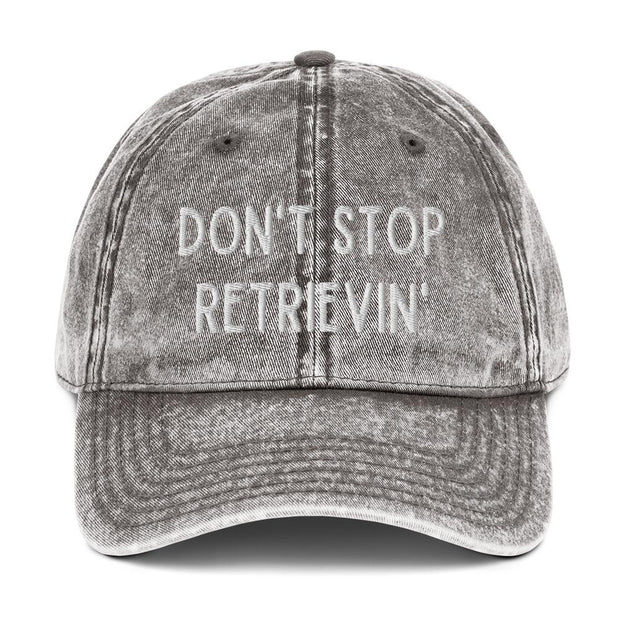 Don't Stop Retrievin' Vintage Cotton Twill Cap-Apparel-Charcoal Grey-Woofingtons