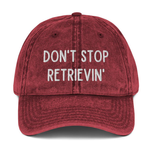 Don't Stop Retrievin' Vintage Cotton Twill Cap-Apparel-Maroon-Woofingtons