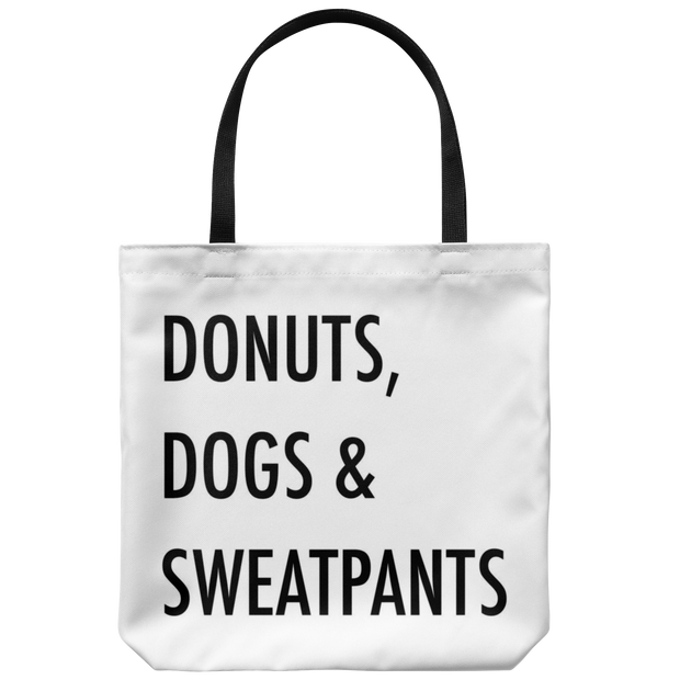 Donuts, Dogs & Sweatpants Tote Bag-dog-lover-gift