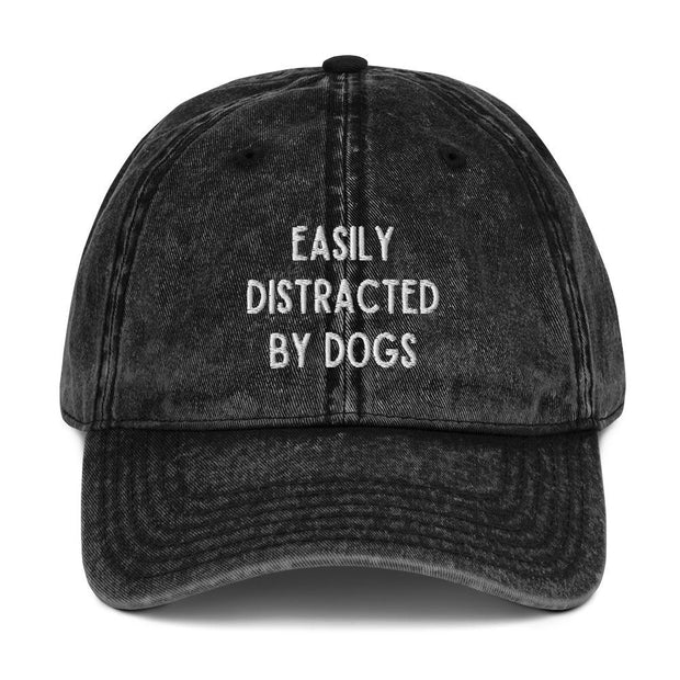 Easily Distracted By Dogs Vintage Cotton Twill Cap-Apparel-Black-Woofingtons