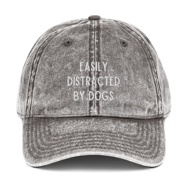 Easily Distracted By Dogs Vintage Cotton Twill Cap-Apparel-Charcoal Grey-Woofingtons