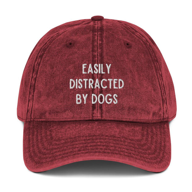 Easily Distracted By Dogs Vintage Cotton Twill Cap-Apparel-Maroon-Woofingtons