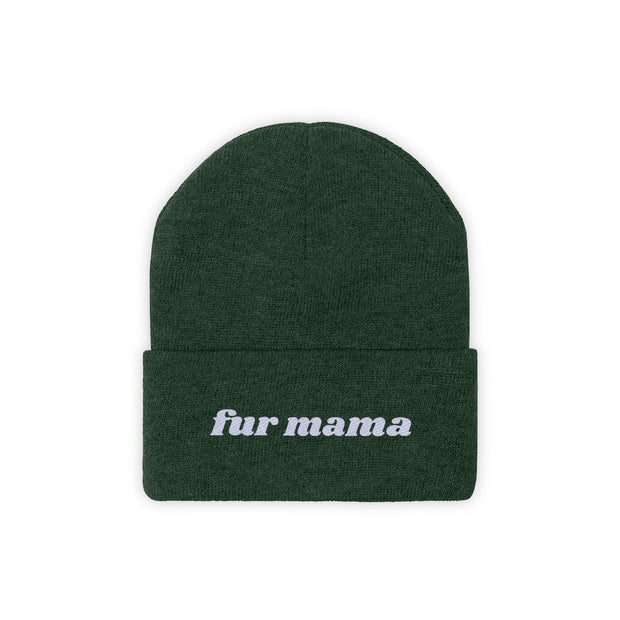 Fur Mama Knit Beanie-Apparel-Forest Green-Woofingtons