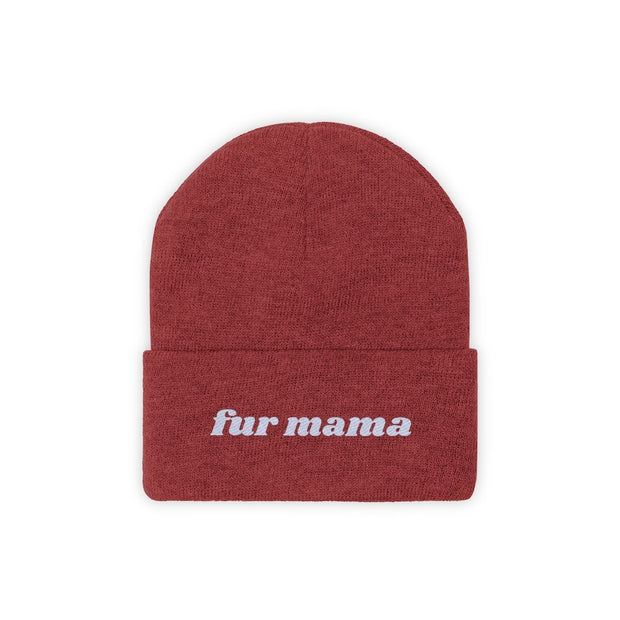 Fur Mama Knit Beanie-Apparel-True Red-Woofingtons
