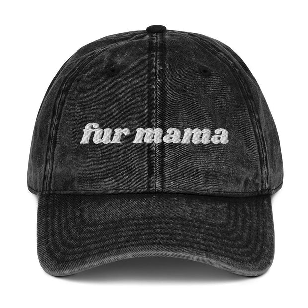 Fur Mama Vintage Cotton Twill Cap-Apparel-Black-Woofingtons