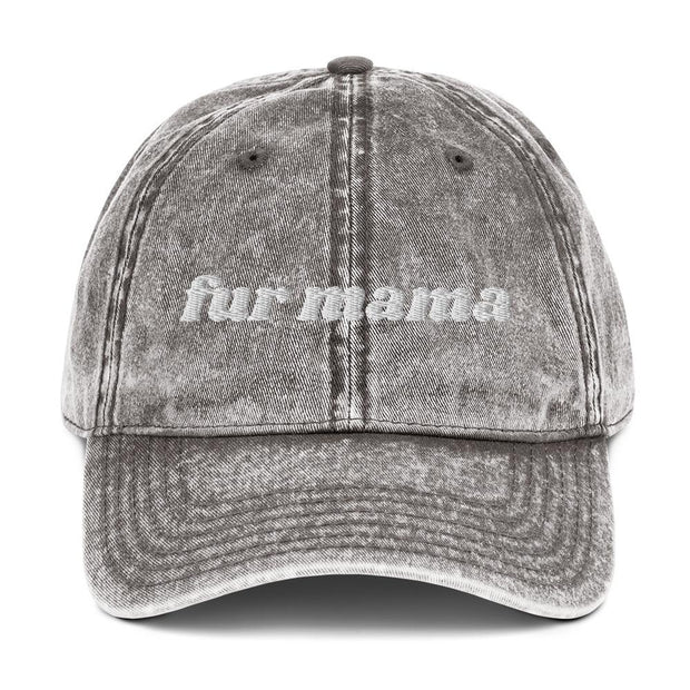 Fur Mama Vintage Cotton Twill Cap-Apparel-Charcoal Grey-Woofingtons