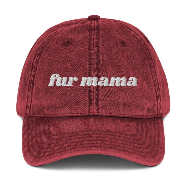 Fur Mama Vintage Cotton Twill Cap-Apparel-Maroon-Woofingtons
