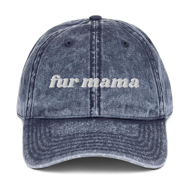 Fur Mama Vintage Cotton Twill Cap-Apparel-Navy-Woofingtons