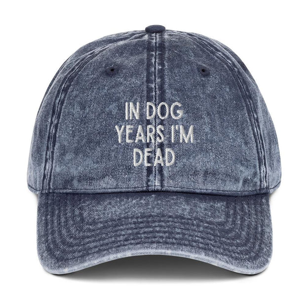 In Dog Years I'm Dead Vintage Cotton Twill Cap-Apparel-Navy-Woofingtons