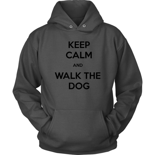 Keep Calm And Walk The Dog Unisex Hoodie-Charcoal-Woofingtons