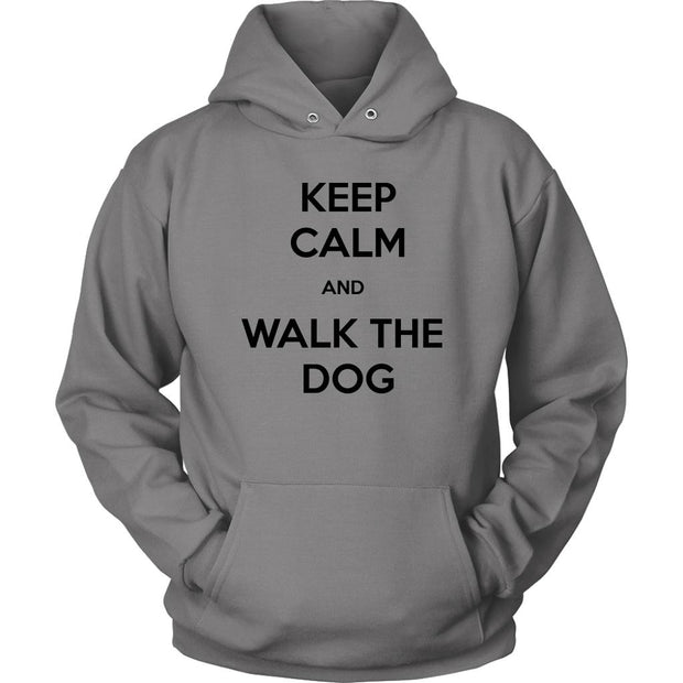 Keep Calm And Walk The Dog Unisex Hoodie-Grey-Woofingtons