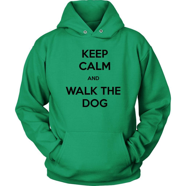 Keep Calm And Walk The Dog Unisex Hoodie-Kelly Green-Woofingtons
