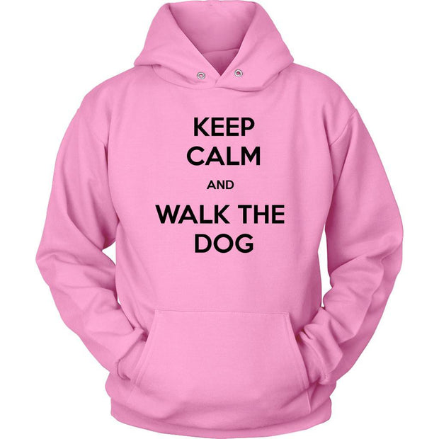 Keep Calm And Walk The Dog Unisex Hoodie-Pink-Woofingtons