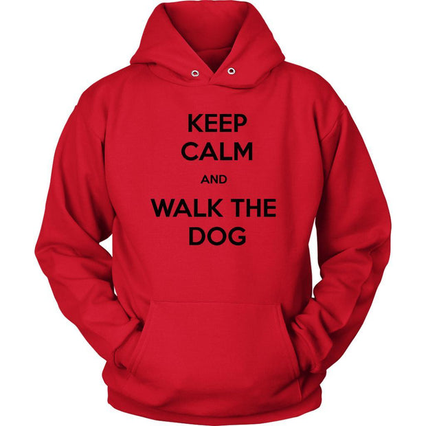Keep Calm And Walk The Dog Unisex Hoodie-Red-Woofingtons
