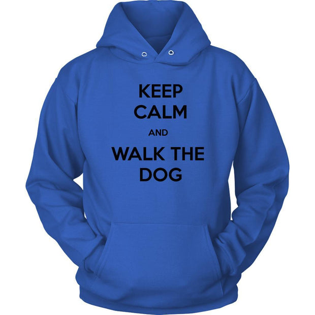 Keep Calm And Walk The Dog Unisex Hoodie-Royal Blue-Woofingtons