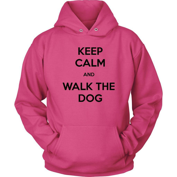Keep Calm And Walk The Dog Unisex Hoodie-Sangria-Woofingtons