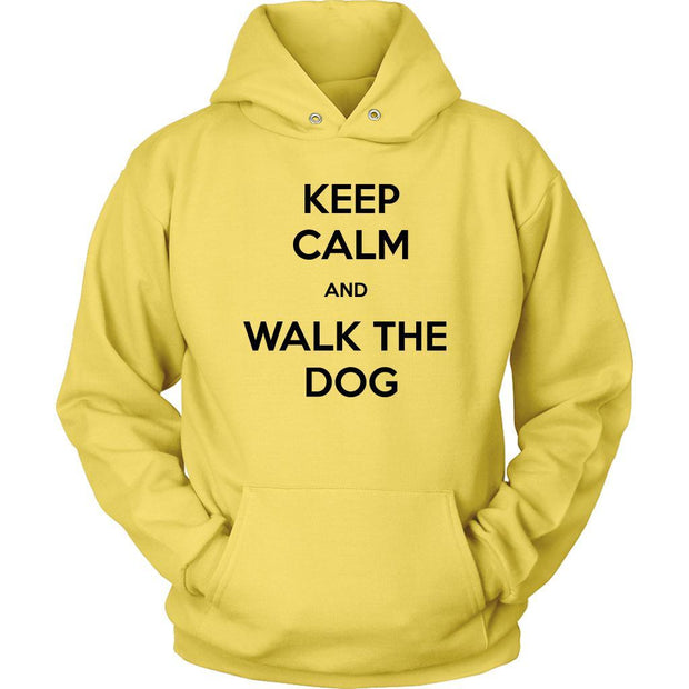 Keep Calm And Walk The Dog Unisex Hoodie-Yellow-Woofingtons