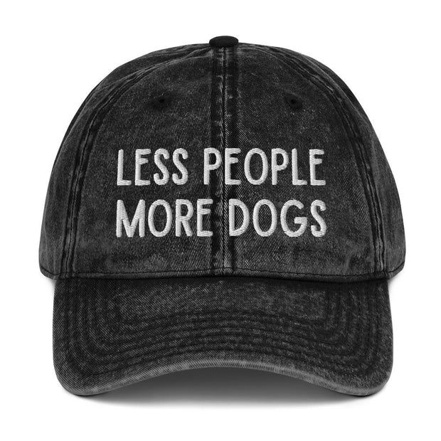 Less People More Dogs Vintage Cotton Twill Cap-Apparel-Black-Woofingtons