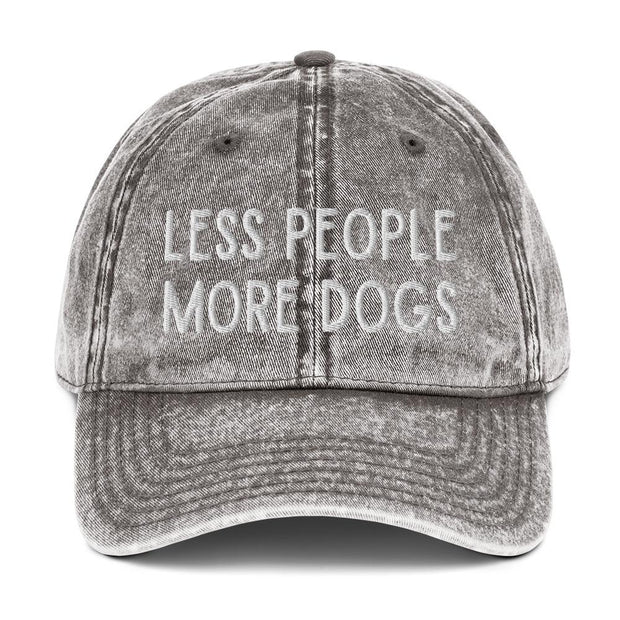Less People More Dogs Vintage Cotton Twill Cap-Apparel-Charcoal Grey-Woofingtons