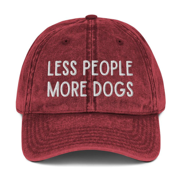 Less People More Dogs Vintage Cotton Twill Cap-Apparel-Maroon-Woofingtons