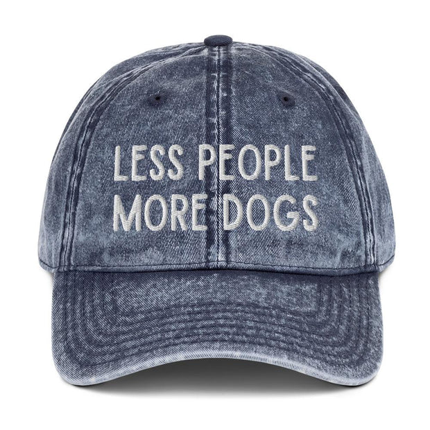 Less People More Dogs Vintage Cotton Twill Cap-Apparel-Navy-Woofingtons