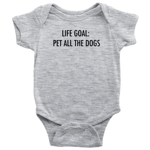 Life Goal: Pet All The Dogs Baby Onesie-Heather Grey-Woofingtons