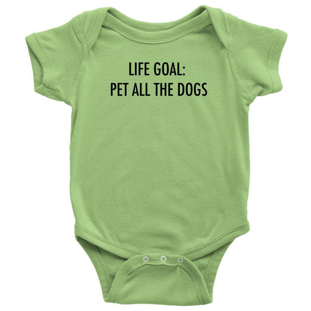 Life Goal: Pet All The Dogs Baby Onesie-Keylime-Woofingtons