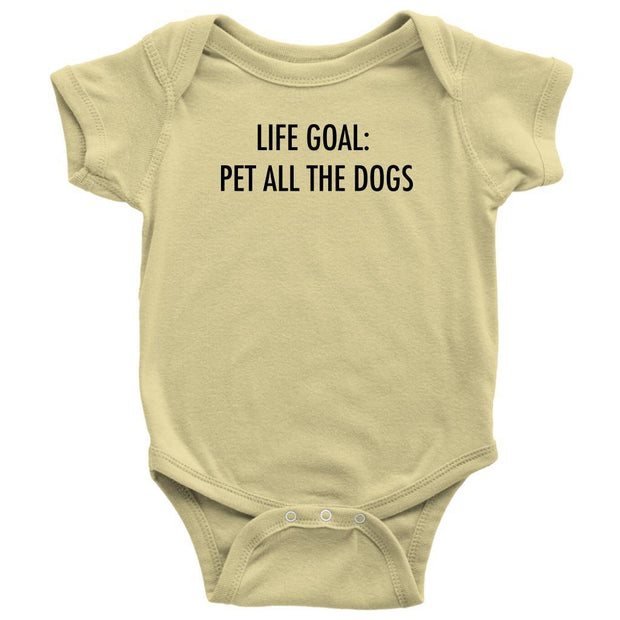 Life Goal: Pet All The Dogs Baby Onesie-Lemon-Woofingtons
