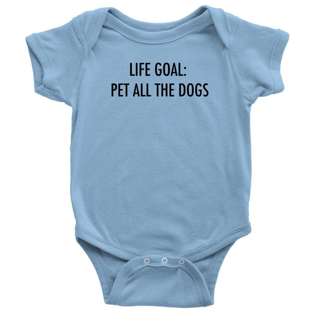 Life Goal: Pet All The Dogs Baby Onesie-Light Blue-Woofingtons